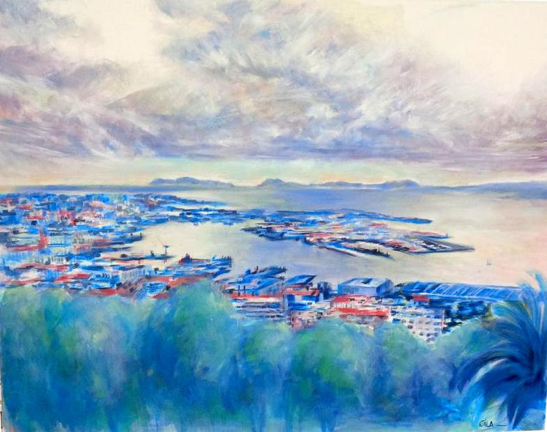 """Blue Vigo"" 100 x 80 cm Óleo sobre lienzo Eila Pérez Vázquez, EILArts. Colectivo Arte Miúda 2014"