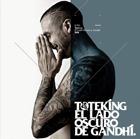 "ToteKing ""El Lado Oscuro De Gandhi"" Photography for cover, back, interior and promotional of the new album. Octubre / Sony Music 2010  Photography, Art direction, and graphic design: Victor Lagone & Alberto Carballido (VLAC). Photo Script: DIego L. Rodríguez. Poster Illustration: Belin."