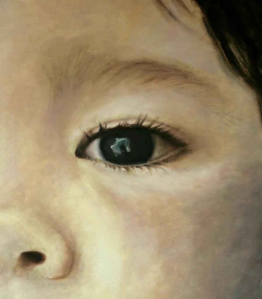Retrato, detalle. Óleo sobre tabla, 100 x 80 cm ©Eila Pérez Vázquez, Arte Miúda.