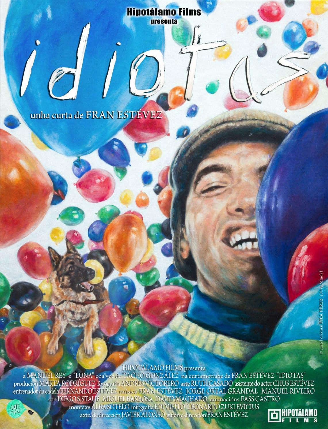Cartel cortometraje Idiotas por Eila Pérez, de Arte Miúda.