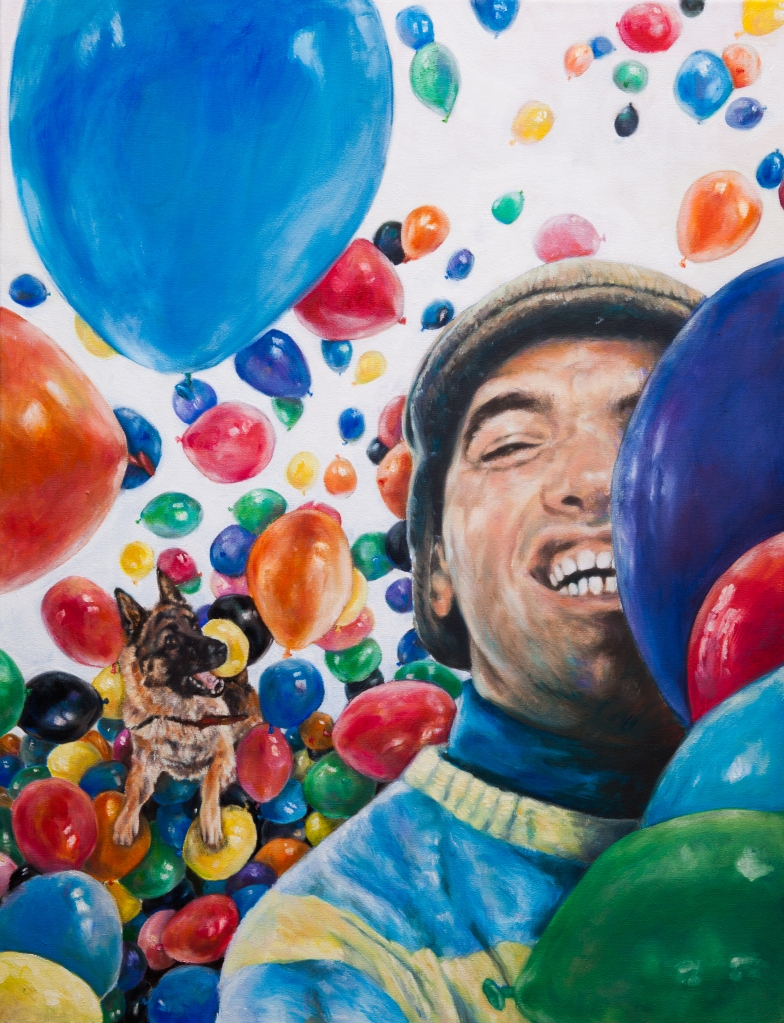 "Óleo sobre lienzo 50 x 65 cm Realizado para cartel del cortometraje ""Idiotas"" por Eila Pérez Vázquez, Arte Miúda."