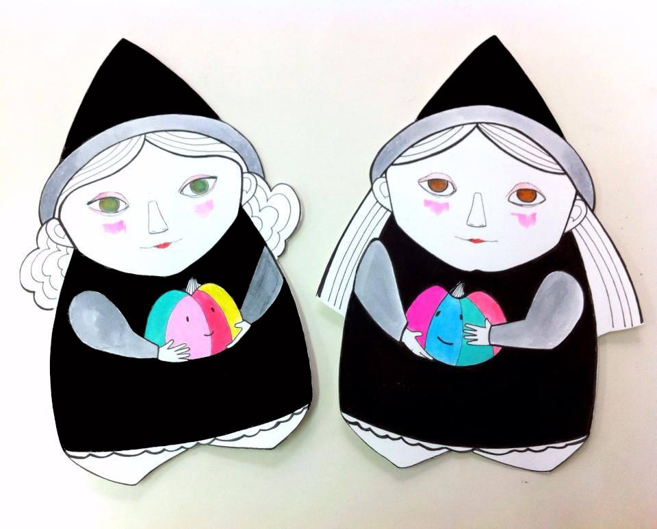 Eila y Clara, brujitas de Arte Miúda. Ilustradas por Clara Pisón López