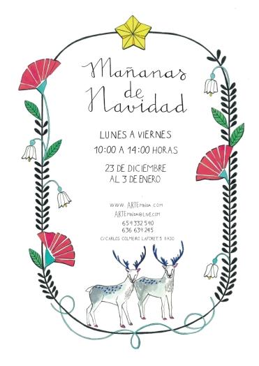 Cartel mañanas navidad Arte Miuda realizado por Clara Pison Lopez