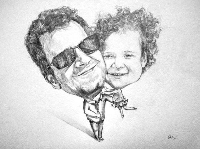 Caricatura Lápiz sobre papel 30 x 42 cm ©Eila Pérez Vázquez, Arte Miúda