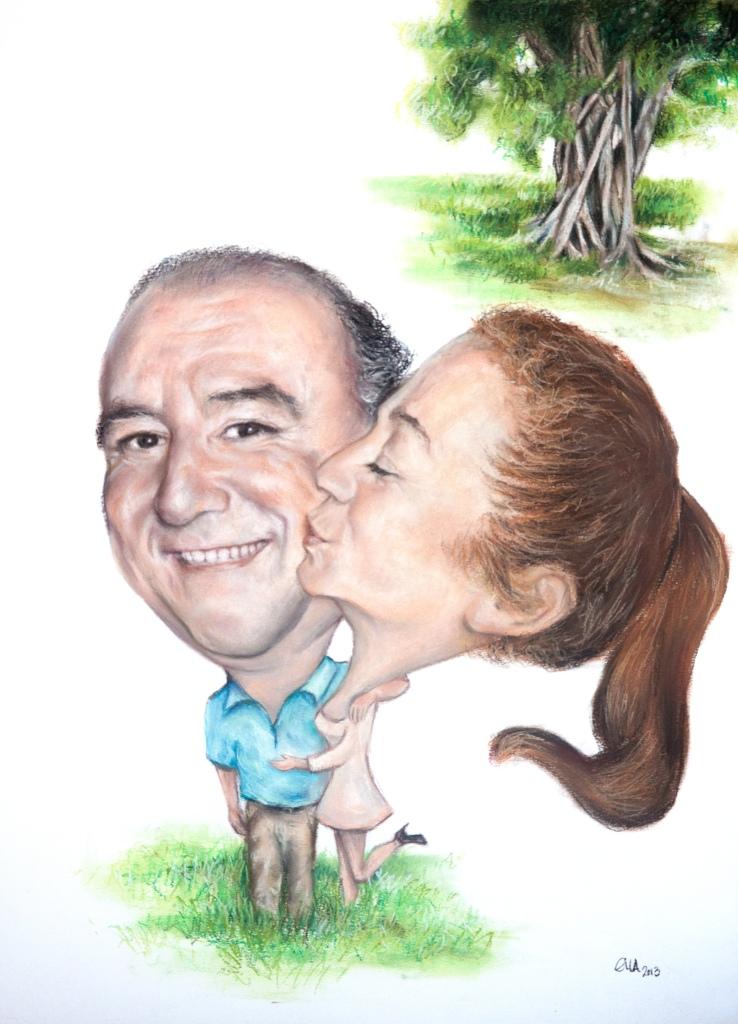 Caricatura doble Pastel 60 x 80 cm ©Eila Pérez Vázquez, Arte Miúda.