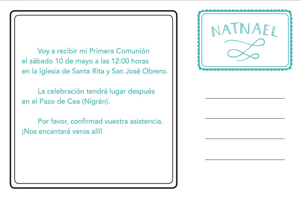Invitación Comunión 2©Arte Miúda, Clara Pisón López